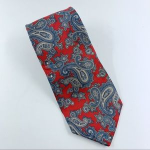 Christian Dior Red Blue Paisley Silk Tie